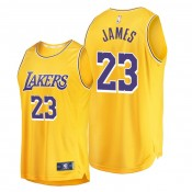 LeBron James Los Angeles Lakers #23 Gold Icon Replica Jersey