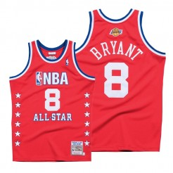 2003 All Star Game Kobe Bryant #8 Throwback Authentic Hardwood Classics Red Jersey